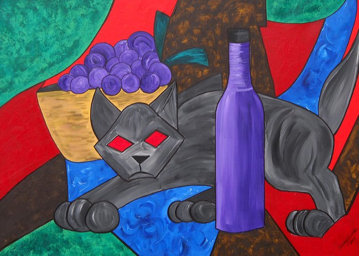 Still Life Greeting Card featuring the painting Gray Cat by Sherry Nelson