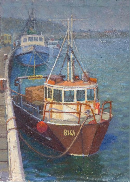 Boats Greeting Card featuring the painting Gray Mouth 1980s by Terry Perham