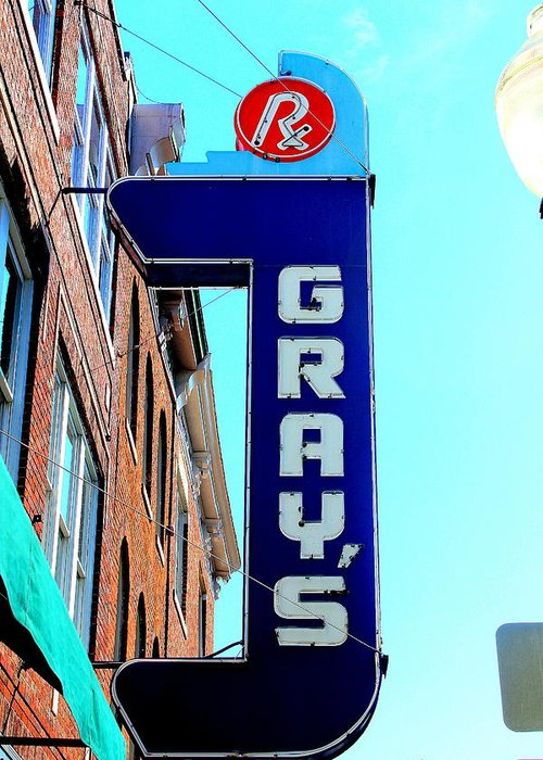 Pharmacies Greeting Card featuring the photograph Gray's Rx by Anthony Jones