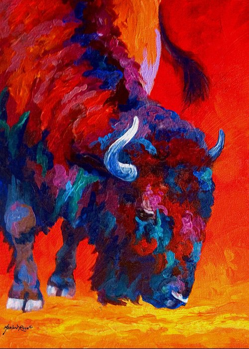 Bison Greeting Card featuring the painting Grazing Bison by Marion Rose