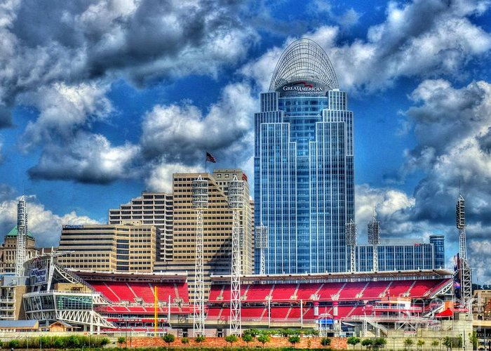 Great American Ballpark Greeting Card featuring the photograph Great American Ballpark by Mel Steinhauer