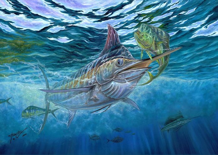 Blue Marlin Greeting Card featuring the painting Great Blue And Mahi Mahi Underwater by Terry Fox