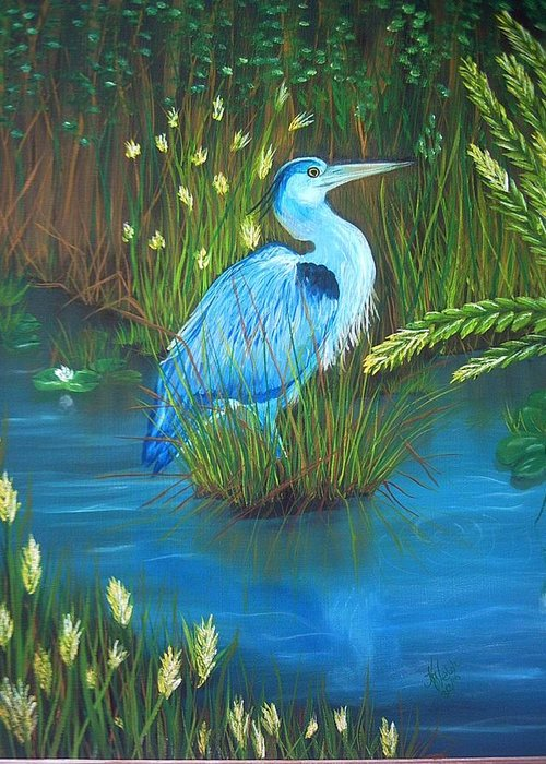 Birds Greeting Card featuring the painting Great Blue Heron by Kathern Welsh