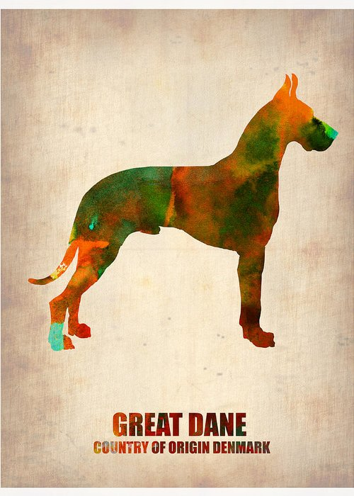 Great Dane Greeting Card featuring the painting Great Dane Poster by Naxart Studio