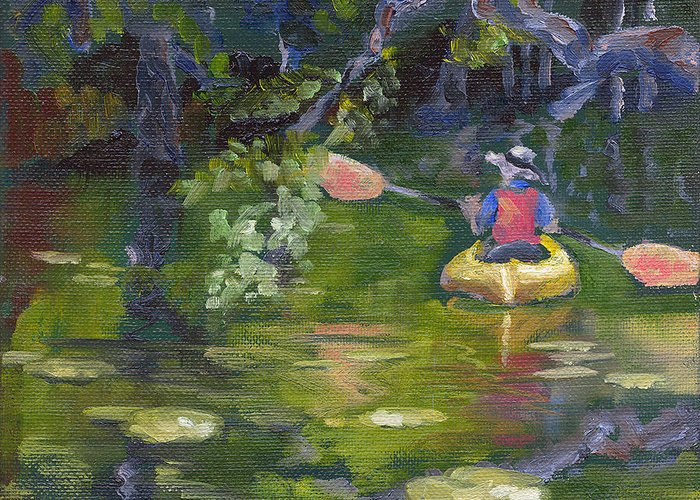 Kayak Greeting Card featuring the painting Great Day For A Paddle by Susan Richardson