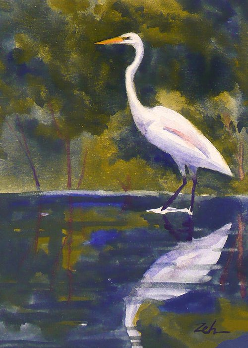 Bird Greeting Card featuring the painting Great Egret by Janet Zeh
