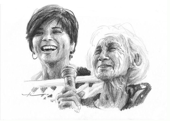 <a Href=http://miketheuer.com Target =_blank>www.miketheuer.com</a> Great Grandmother Pencil Portrait Greeting Card featuring the drawing Great Grandmother Pencil Portrait by Mike Theuer