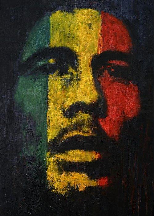 Bob Marley Greeting Card featuring the painting Great Marley by Sinisa Mihajlovic