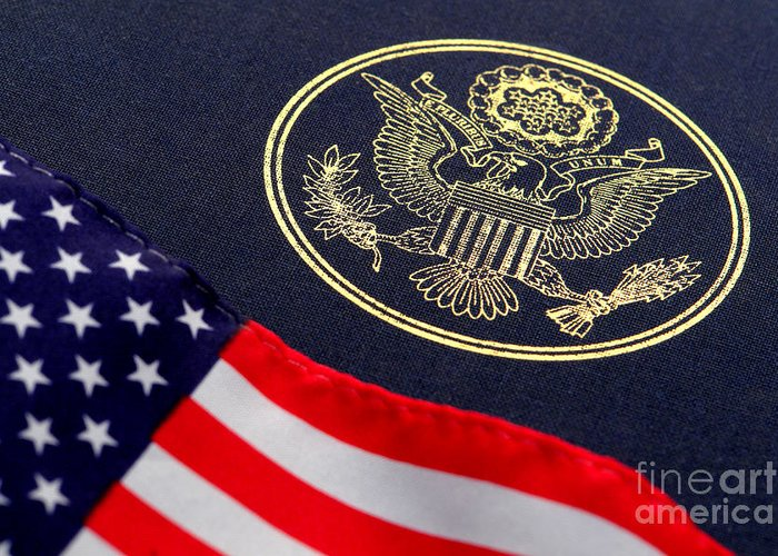 Flag Greeting Card featuring the photograph Great Seal Of The United States And American Flag by Olivier Le Queinec