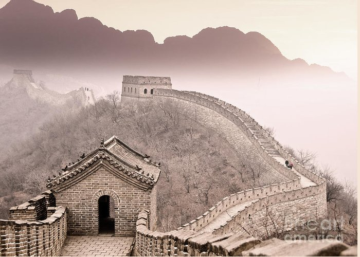Great Wall Of China Greeting Card featuring the photograph Great Wall Of China by Delphimages Photo Creations