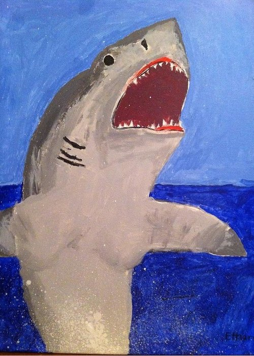 Great White Greeting Card featuring the painting Great White Shark Breaching by Fred Hanna