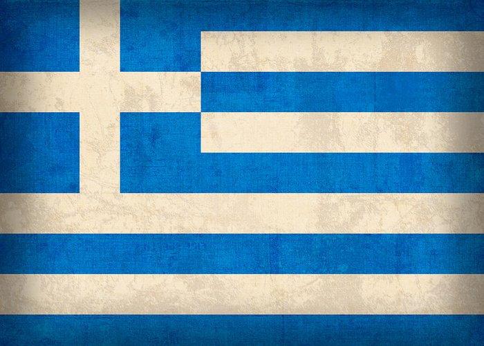 Greek Mixed Media Greeting Cards