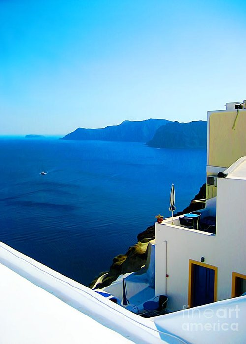 Santorini Greeting Card featuring the digital art Greek Mediterranean by John Kreiter