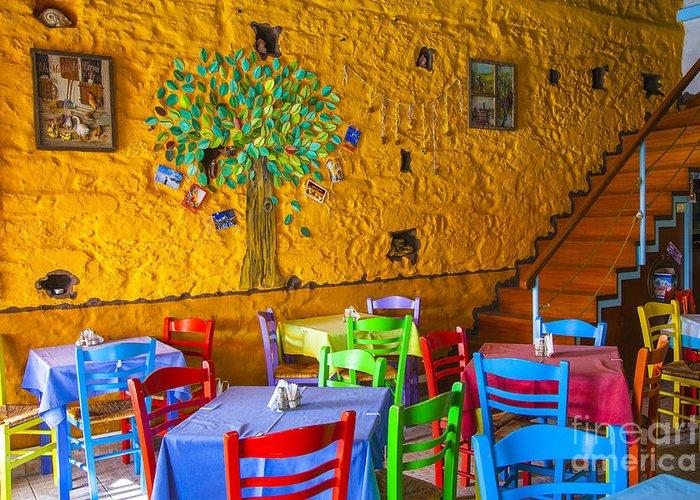 Greek Greeting Card featuring the photograph Greek Taverna by Eleni Mac Synodinos