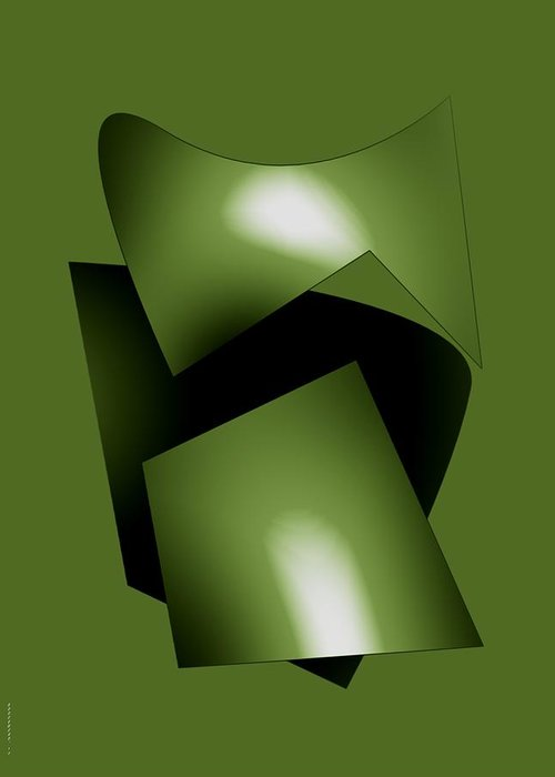 Green Greeting Card featuring the digital art Green Abstract Geometry by Mario Perez