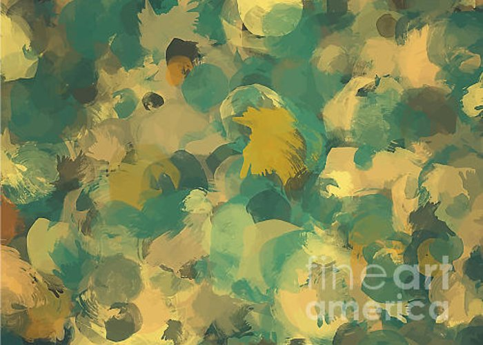 Drop Greeting Card featuring the digital art Green And Yellow Round Brush Strokes by Shekaka