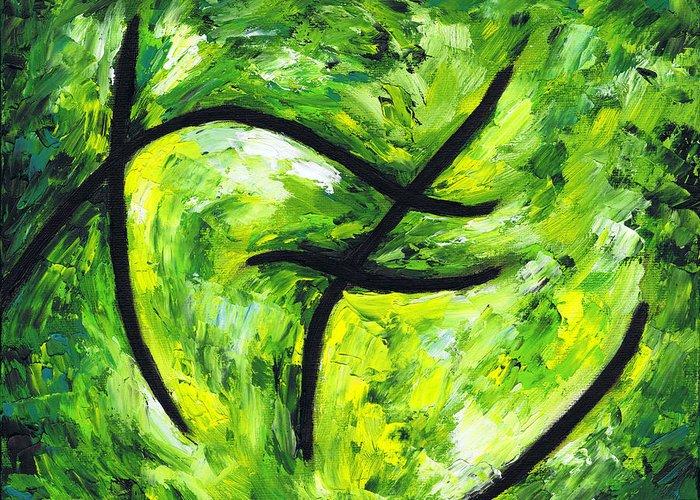 Green Apple Greeting Card featuring the painting Green Apple by Kamil Swiatek