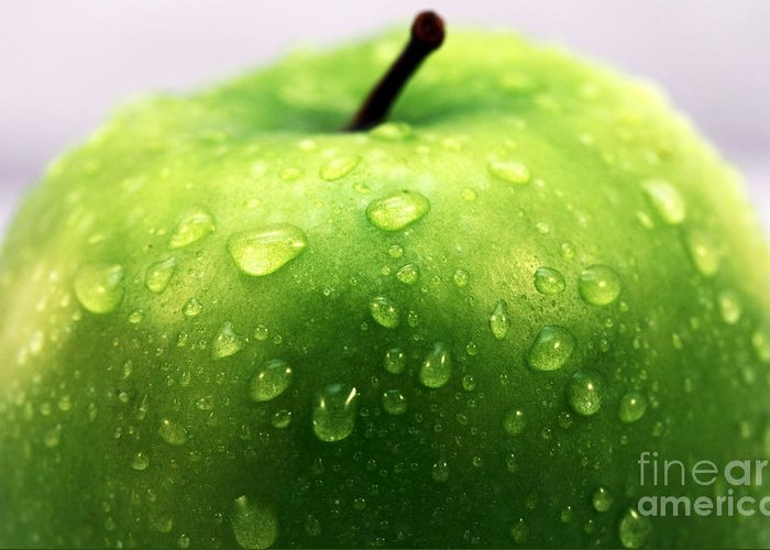 Green Apple Top Greeting Card featuring the photograph Green Apple Top by John Rizzuto