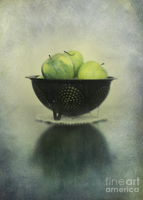 Colander Greeting Card featuring the photograph Green Apples In An Old Enamel Colander by Priska Wettstein
