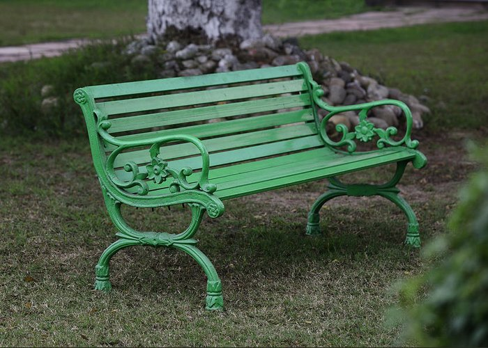 Green Bench Greeting Card featuring the photograph Green Bench by Niteen Kasle