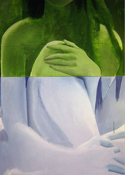 Huge Greeting Card featuring the painting Green Blue Nue Diptych by Geoff Greene