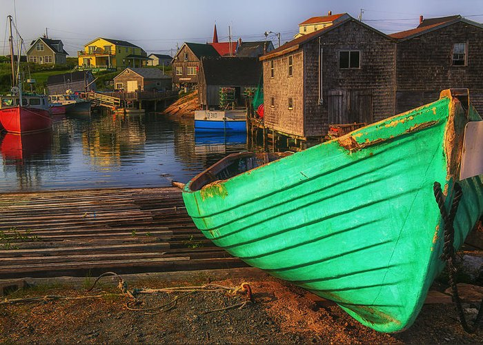 Green Greeting Card featuring the photograph Green Boat Peggys Cove by Garry Gay