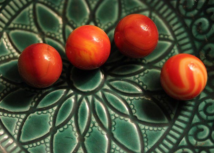 Marble Greeting Card featuring the photograph Green Bowl Red Marbles by Mary Bedy