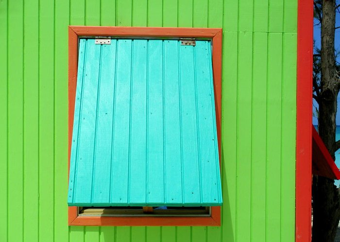 Caribbean Corner Greeting Card featuring the photograph Green Cabin by Randall Weidner