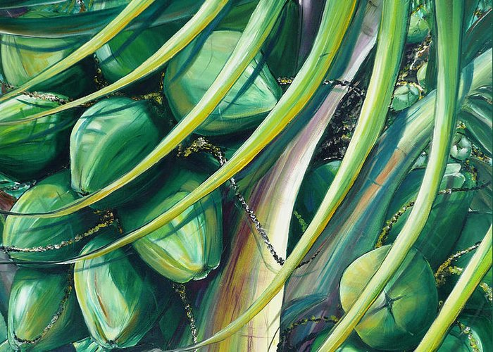 Coconut Painting Caribbean Painting Coconuts Caribbean Tropical Painting Palm Tree Painting  Green Botanical Painting Green Painting Greeting Card featuring the painting Green Coconuts 2 by Karin Dawn Kelshall- Best