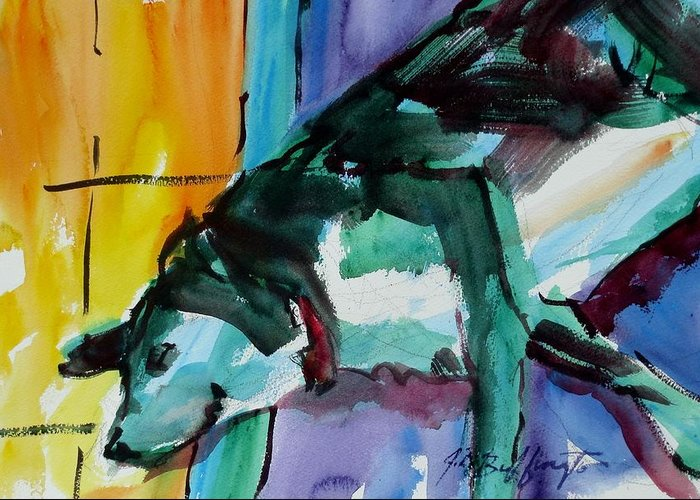 Dog Greeting Card featuring the painting Green Dog by JULES Buffington