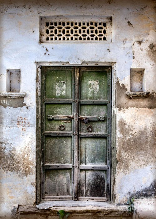 India Greeting Card featuring the photograph Green Door by Catherine Arnas