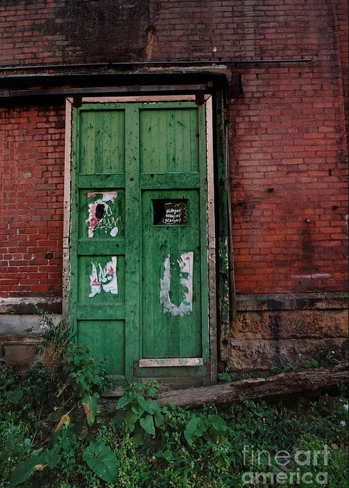 Green Greeting Card featuring the photograph Green Door On Red Brick Wall by Amy Cicconi