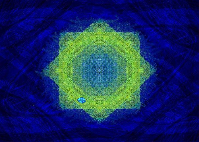 Mandala Greeting Card featuring the digital art Green Eyed Weave by Mathilde Vhargon