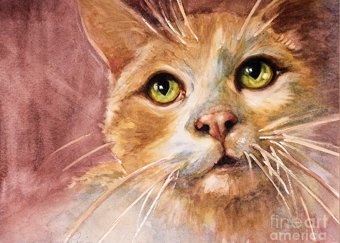 Cat Greeting Card featuring the painting Green Eyes by Judith Levins