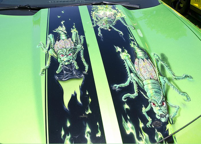 Bugs Greeting Card featuring the photograph Green Fire Camaro Hood by Duncan Mackie