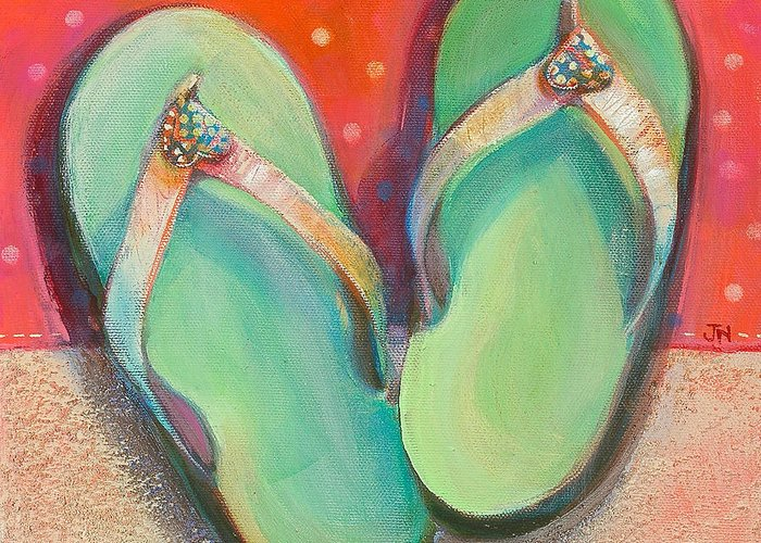Jen Norton Greeting Card featuring the painting Green Flip Flops by Jen Norton