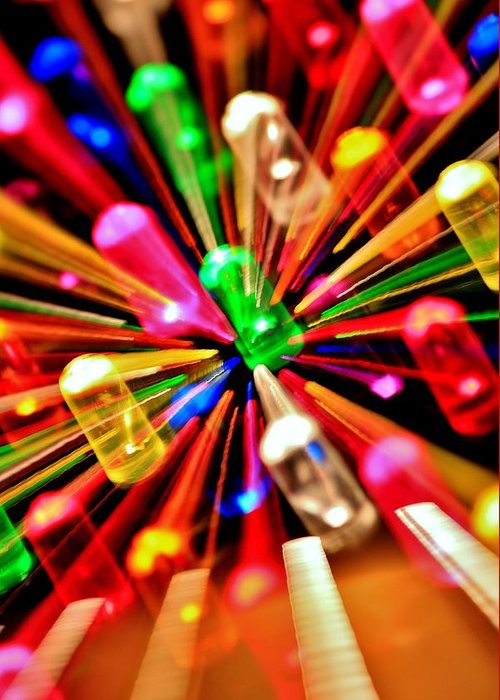 Lite Brite Greeting Card featuring the photograph Green Flux by Benjamin Yeager
