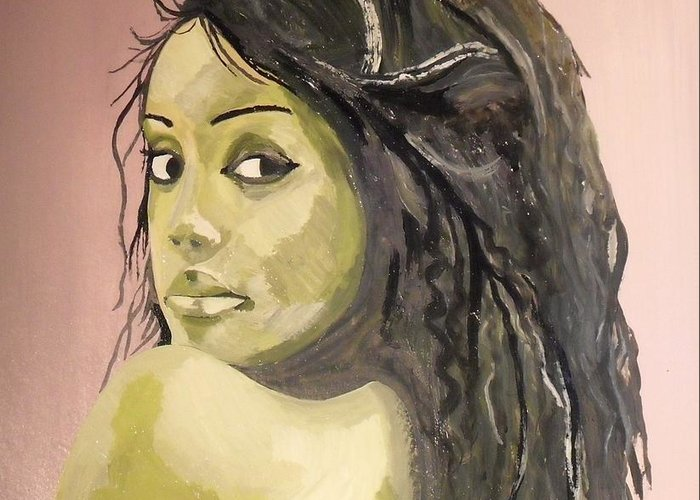 Green Girl Greeting Card featuring the painting Green Girl by Roger Medcalf