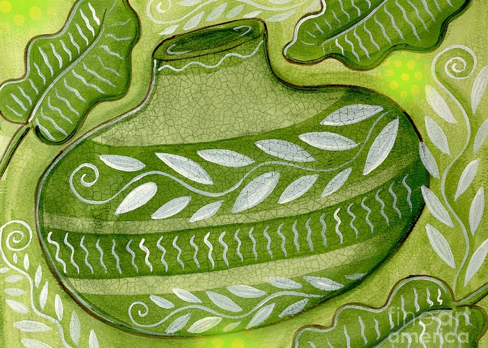Leaves Greeting Card featuring the mixed media Green Gourd by Elaine Jackson