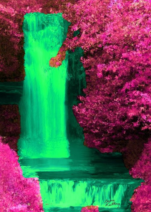 Pink Greeting Card featuring the painting Green Irish Waterfall Surrounded By Pink by Bruce Nutting