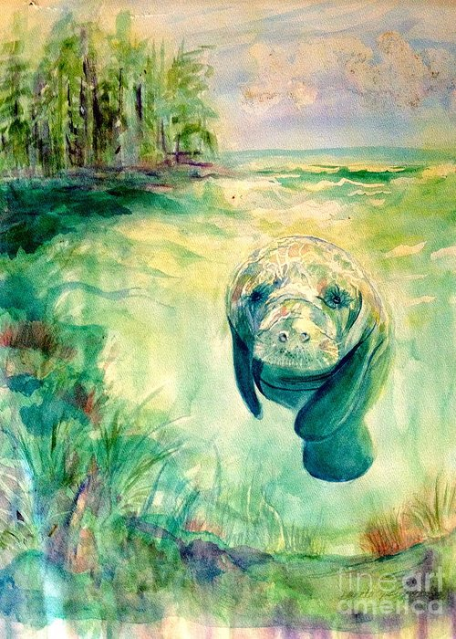 Green Greeting Card featuring the painting Green Manatee by Diane Phelps