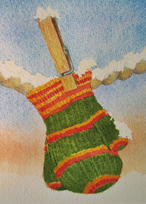 Children Greeting Card featuring the painting Green Mittens by Mary Ellen Mueller Legault