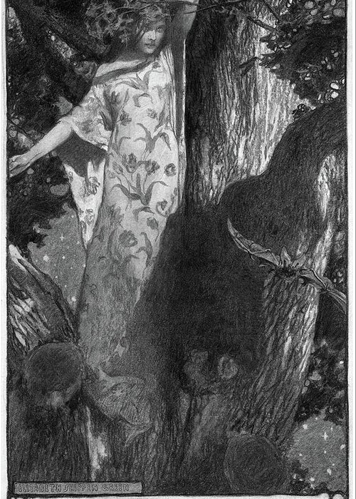 1902 Greeting Card featuring the drawing Green Moonlight, 1902 by Granger