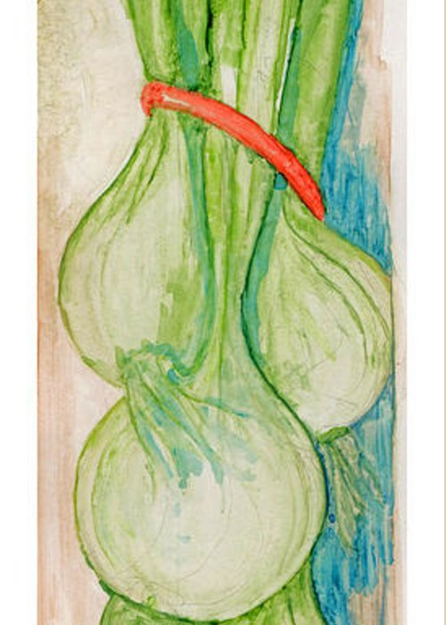 Still Life Greeting Card featuring the painting Green Onions by Elle Smith Fagan