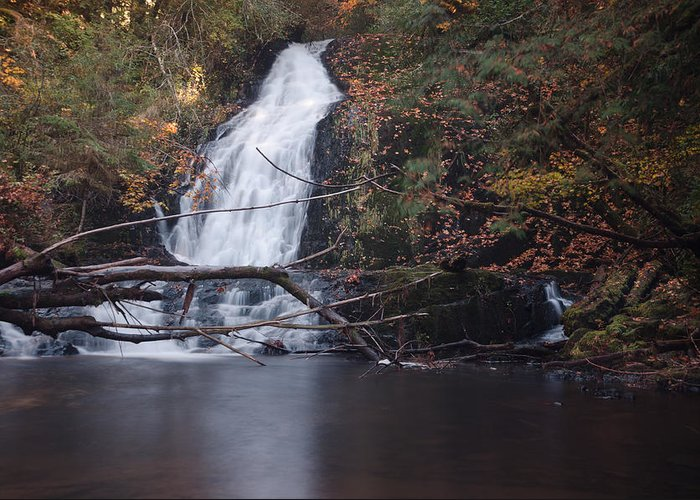 Waterfall Greeting Card featuring the photograph Green Peak Falls by Margaret Pitcher