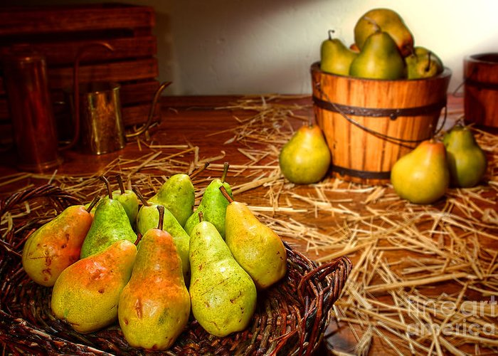 Pears Greeting Card featuring the photograph Green Pears In Rustic Basket by Olivier Le Queinec