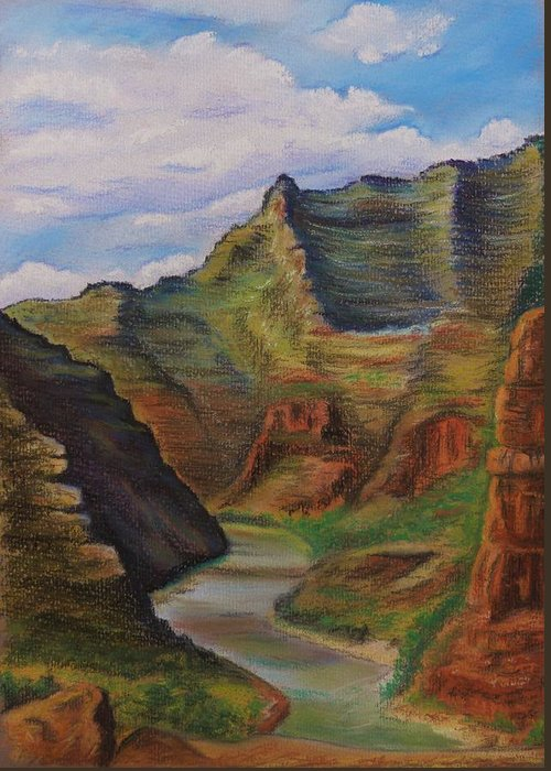 Utah Greeting Card featuring the painting Green River Utah by Lucy Deane