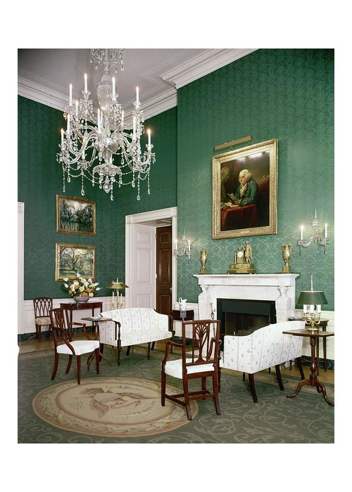 Home Greeting Card featuring the photograph Green Room In The White House by Tom Leonard