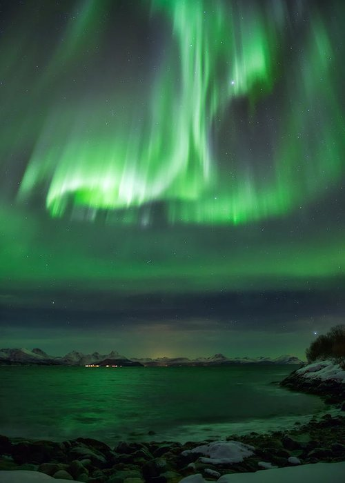Aurora Greeting Card featuring the photograph Green Sea by Anders Hanssen