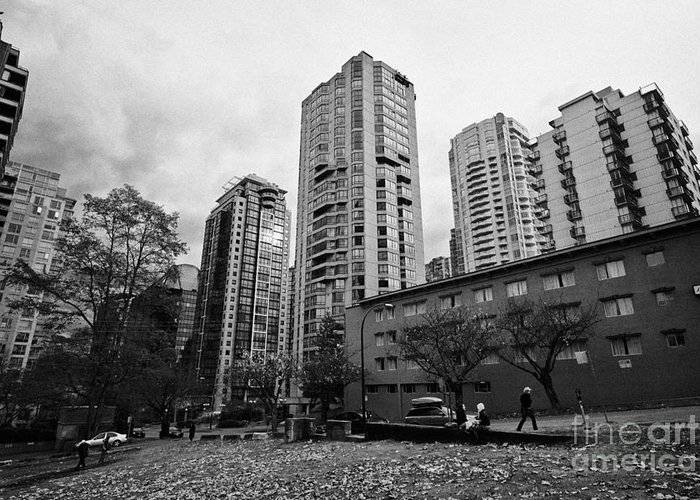 High-rise Greeting Card featuring the photograph Green Space In Front Of High Rise Apartment Condo Blocks In The West End Between Robson And West Geo by Joe Fox